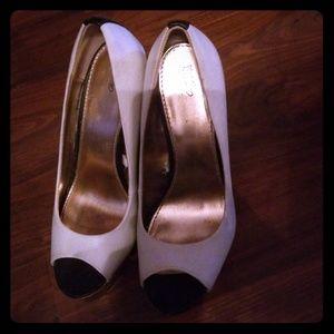 White, Black, Gold Heels